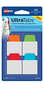 "high-quality Avery Margin Ultra Tabs, 2.5"" x 1"", 24 Repositionable Tabs, Two-Side Writable, Red/Yellow/Green (74768)"