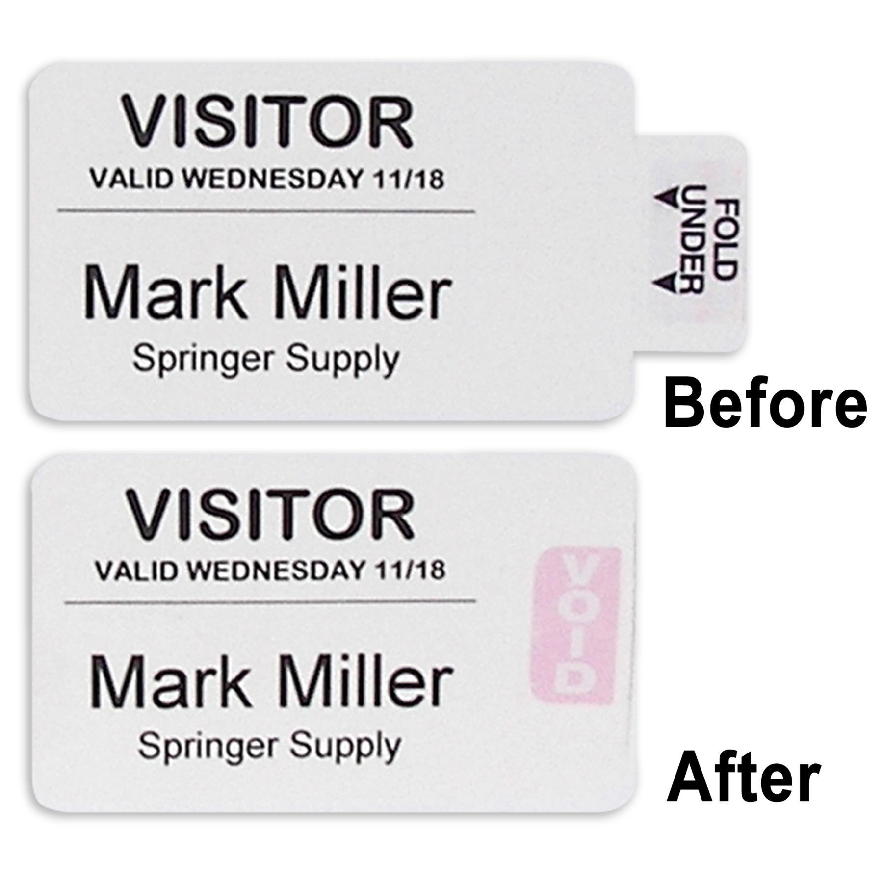 C-Line Time's Up! Self-Expiring 1-Day Visitor Badges, 3 x 2 Inches, 100 per  Box (97005)