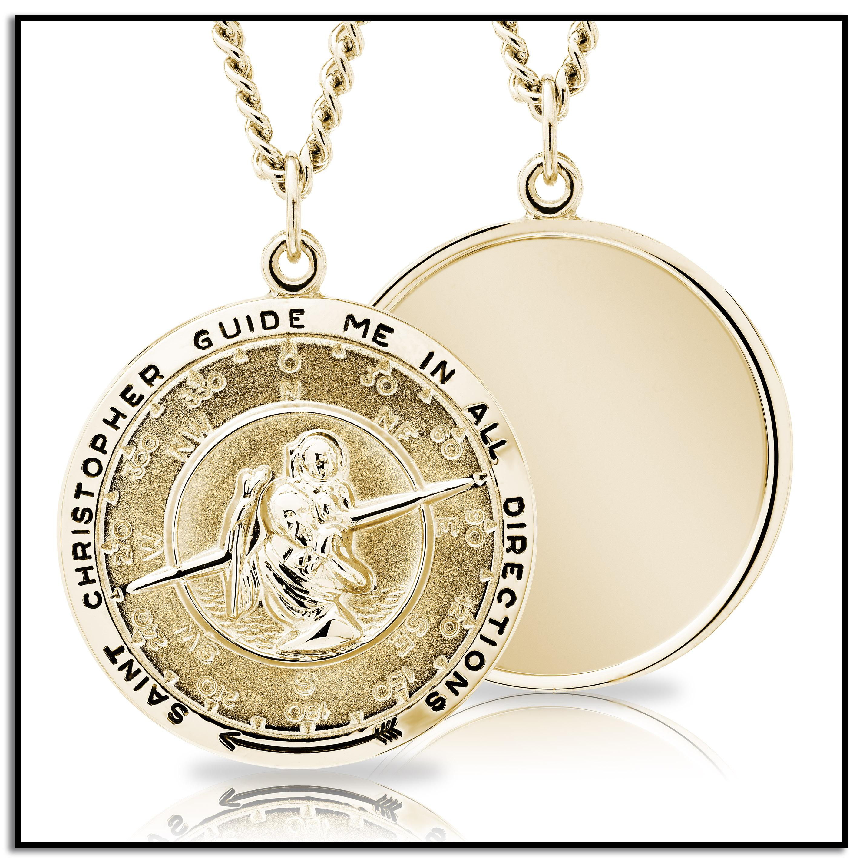 gold with s compass filled dp round men medal medallion saint stainless st christopher