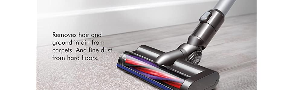 Motorized cleaner head removes hair and ground in dirt from carpets and fine dust from hard floors
