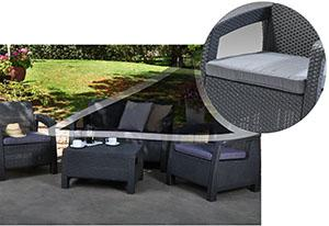 Keter Corfu patio furniture has weather proof cushions