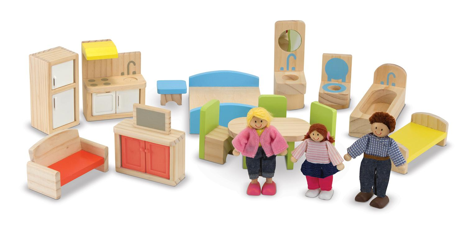 Melissa Doug Hi Rise Wooden Dollhouse With 15 Pcs Furniture Garage And Working