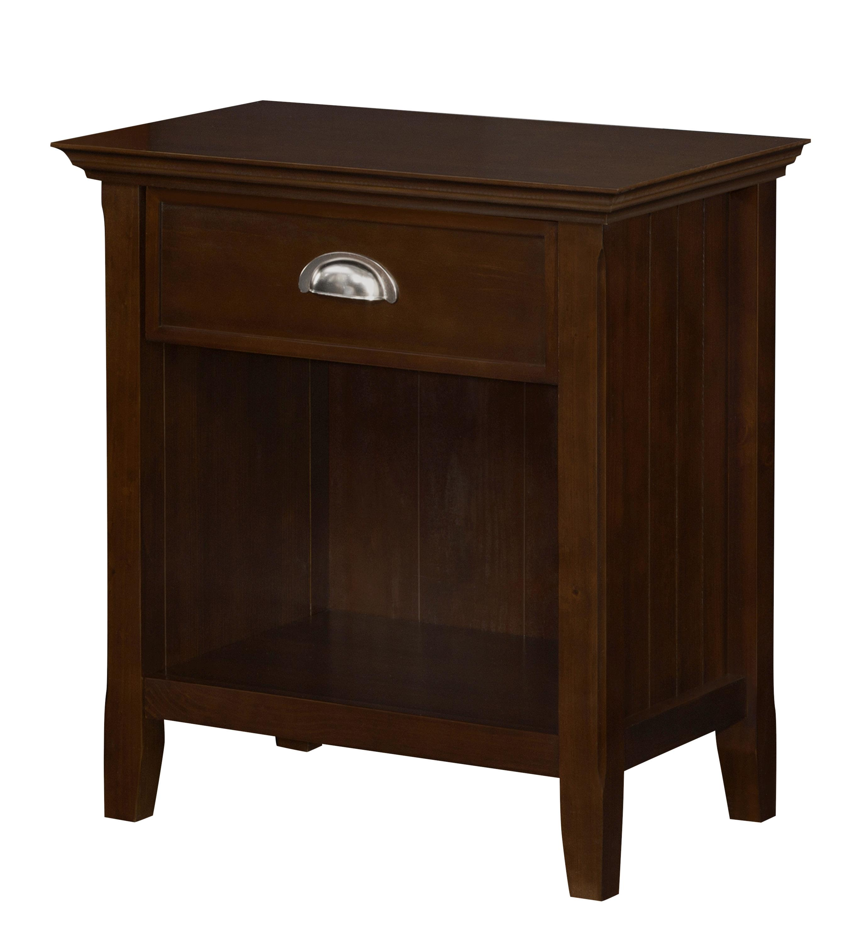 Simpli home acadian solid wood bedside table tobacco brown standard kitchen dining Home furniture on amazon