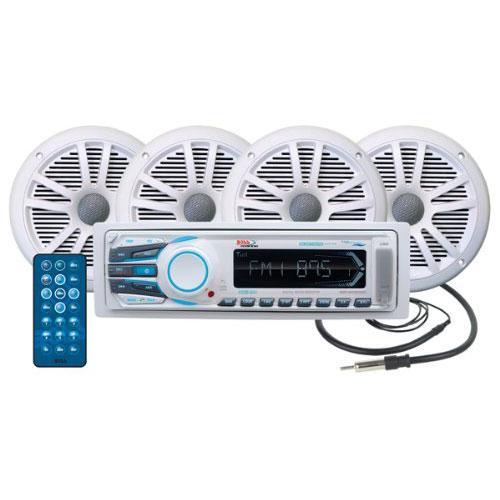 BOSS Audio MGR350B Marine Gauge MECH-Less Receiver with Audio Streaming /& BOSS Audio MR6W 180-Watt Dual Cone Marine 6.5-Inch Coaxial Speaker