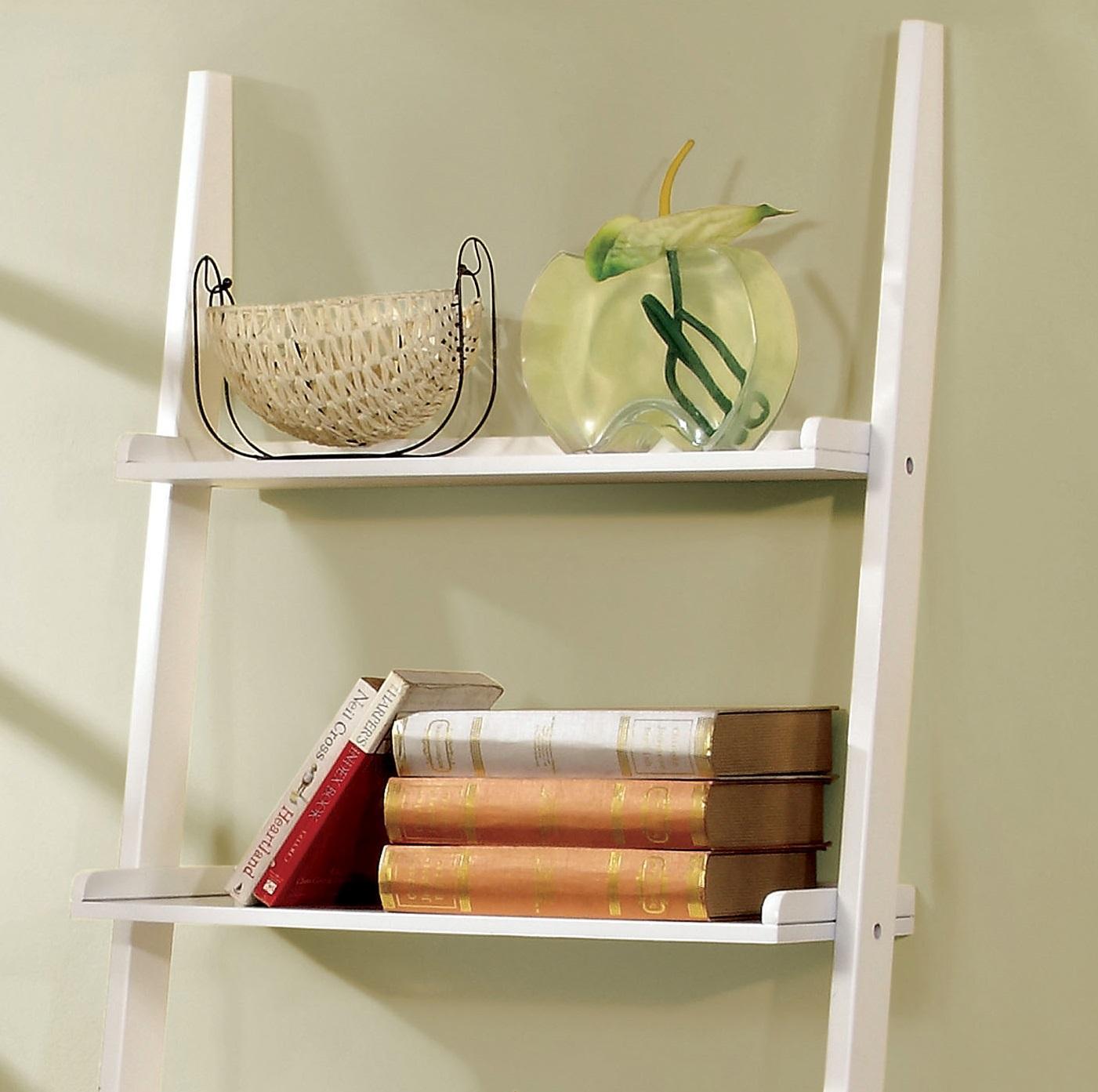 Furniture Of America Klaudalie 5 Tier Ladder Style Bookshelf, Tray Style  Shelf