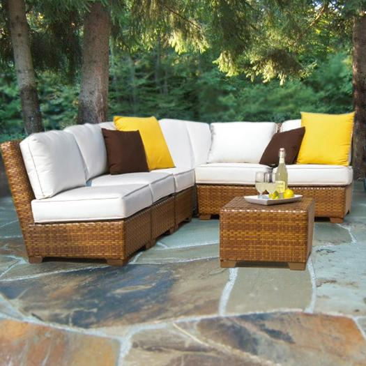 Panama jack outdoor 7 piece st barths corner for Sofa exterior amazon