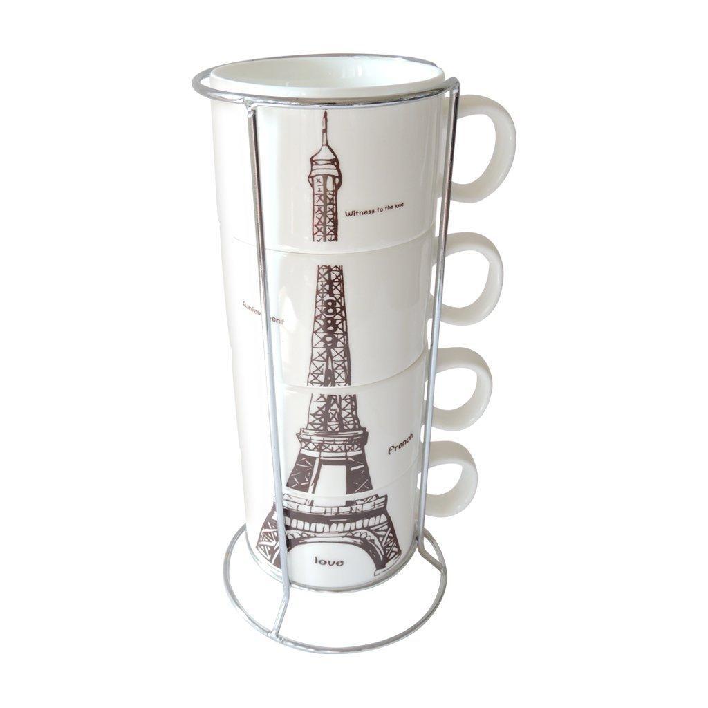 Amazon Com Oliadesign 4 Piece Stackable Porcelain Coffee