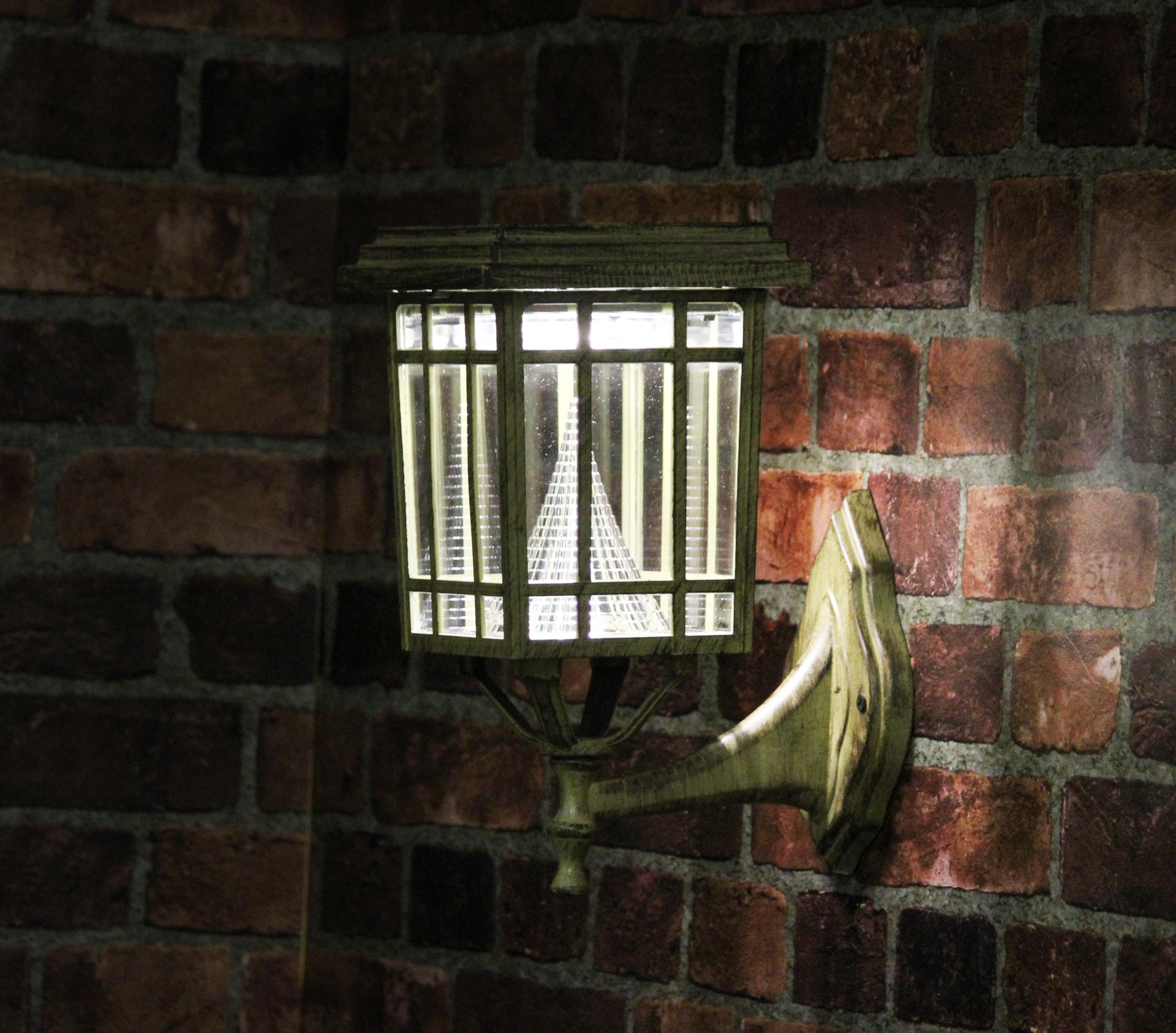 Gama Sonic GS 114FPW Prairie Outdoor Solar Light On Wall Mount Outside At  Night