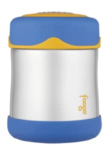 thermos foogo vacuum insulated stainless steel 10 ounce food jar blue yellow baby. Black Bedroom Furniture Sets. Home Design Ideas