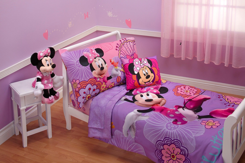 disney 4 piece minnie 39 s fluttery friends toddler bedding set lavender minnie. Black Bedroom Furniture Sets. Home Design Ideas