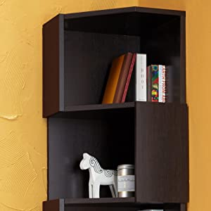 furniture of america laina geometric espresso 5shelf corner bookshelf key features
