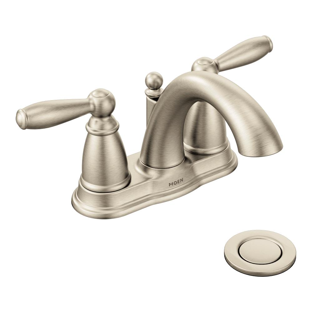 Moen 6610bn Brantford Brushed Nickel Two Handle High Arc Bathroom Faucet With Drain Assembly