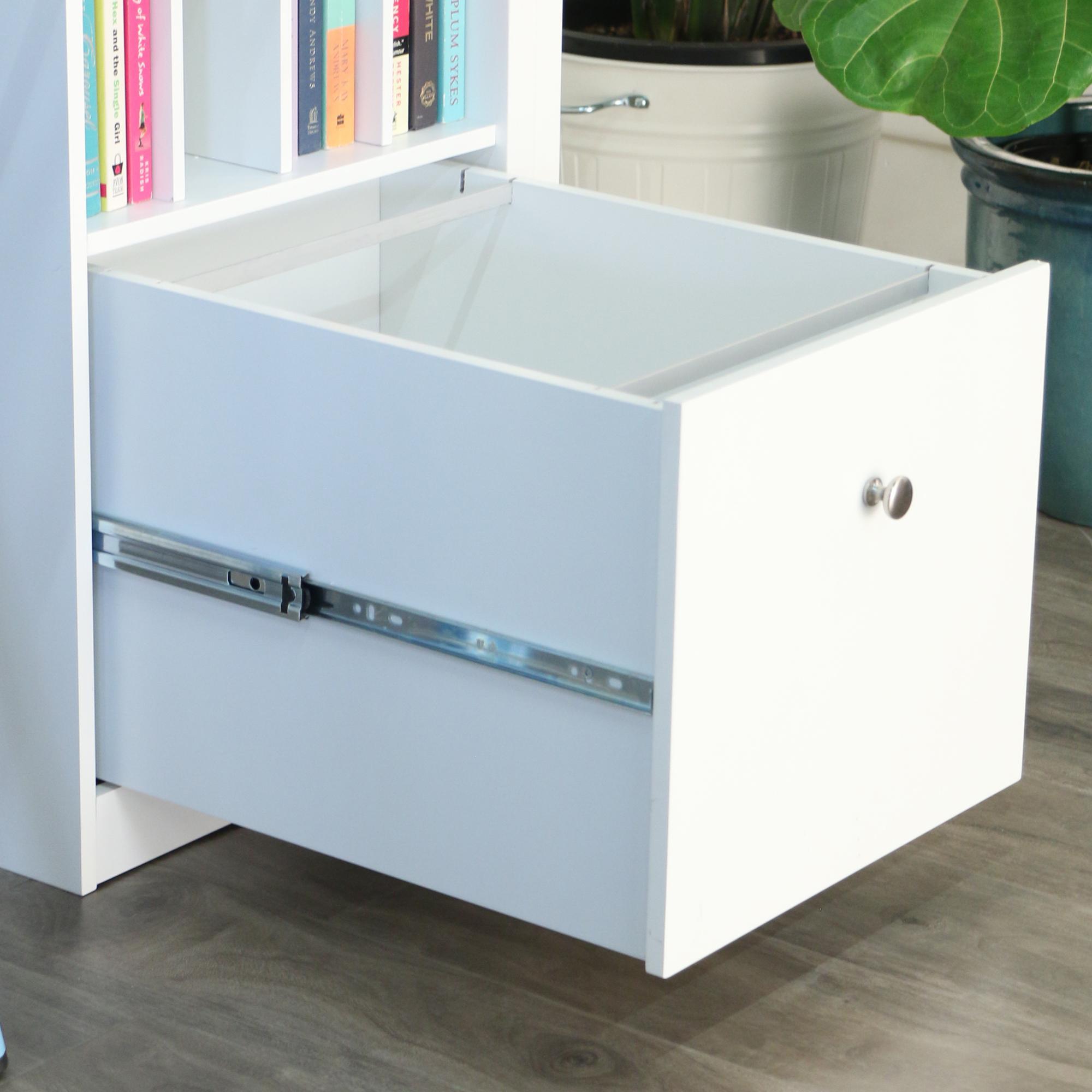 Amazon Com White Wood Deluxe Storage Computer Desk With
