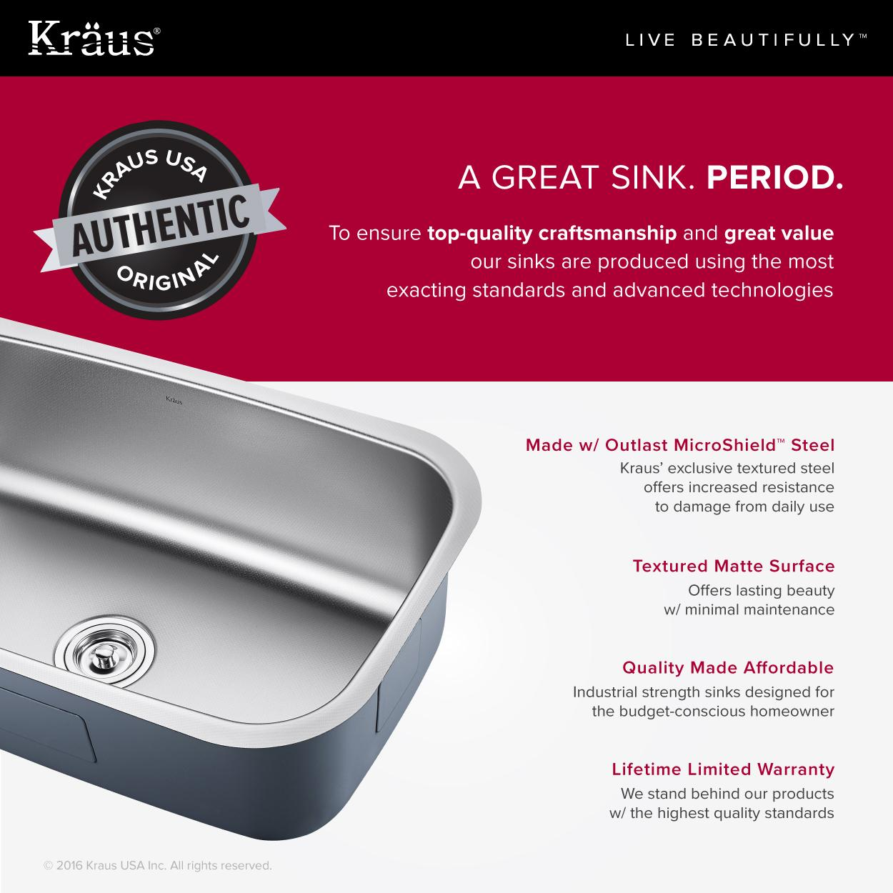 ... kraus outlast stainless steel sinks made with kraus outlast