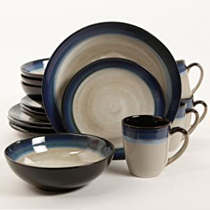 Gibson Couture Bands 16-Piece Dinnerware Set, Blue and Cream