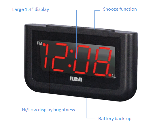 RCA Digital Alarm Clock with Large 1.4