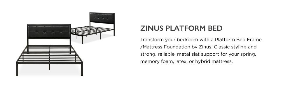 Zinus Faux Leather Classic Platform Bed With Steel Support Slats