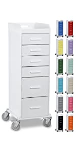 cart, colored, white, drawer, tall, mobile, lab, clinic, hospital, drawers