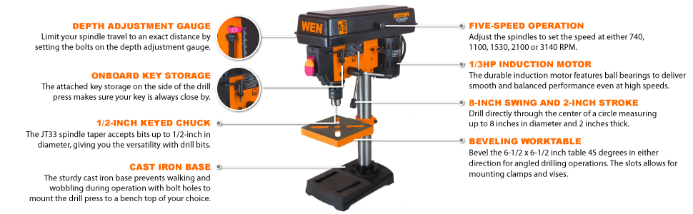 Table Top Bench Drill Press Wen Variable Speed For Sale Mini Best Benchtop
