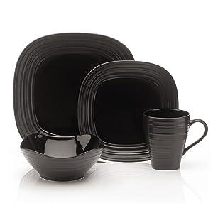 white plate set, mikasa round dinnerware, swirl white, swirl round, black plate set