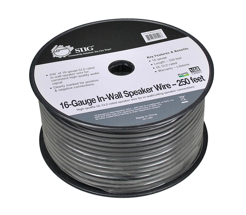 Amazon.com: SIIG 16-Gauge Black Speaker Wire - 250 Feet (CB-AU0912 ...