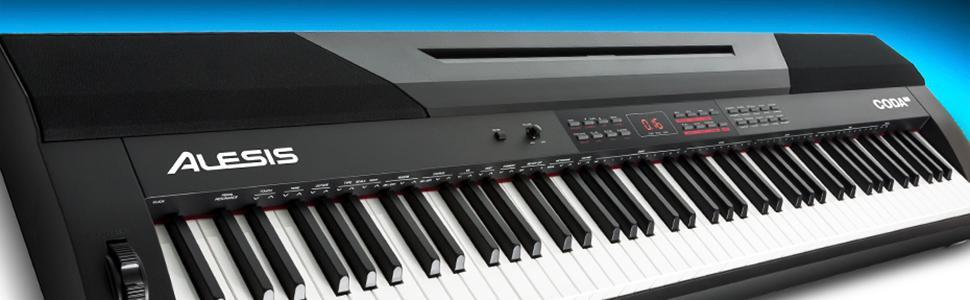 alesis coda pro 88 key digital piano with hammer action keys split keyboard. Black Bedroom Furniture Sets. Home Design Ideas