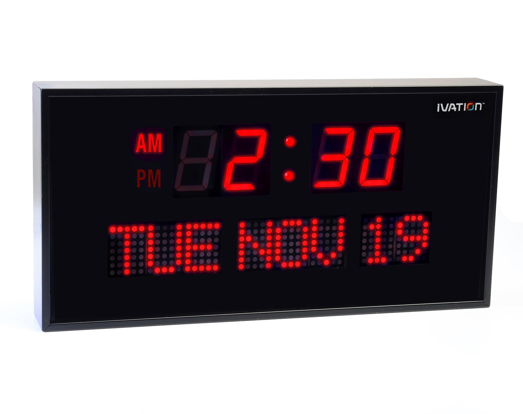 Amazon ivation big oversized digital red led calendar clock ivation big oversized digital blue led calendar clock with day and date shelf or wall mount amipublicfo Images