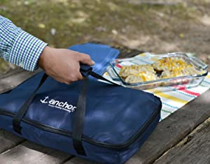 anchor hocking; glass; bakeware; tote; easy transport; dishes; storage; tote; hot cold pack;
