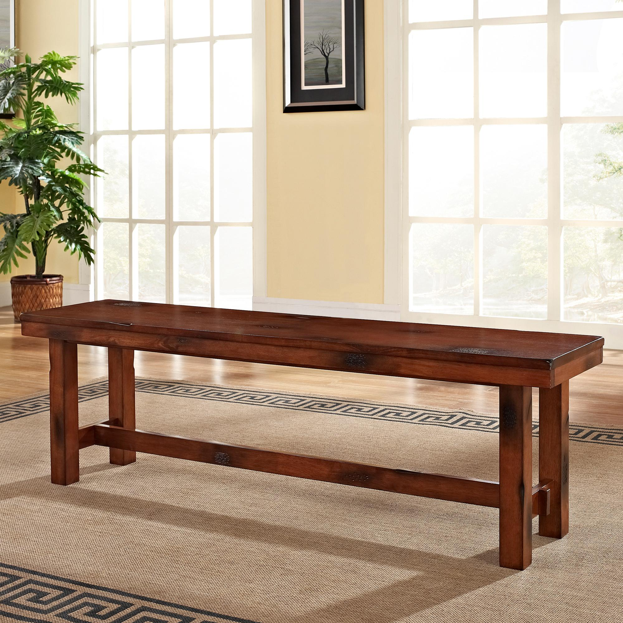 Dining Table With A Bench: WE Furniture AZBH1DO Solid Wood Dining Bench