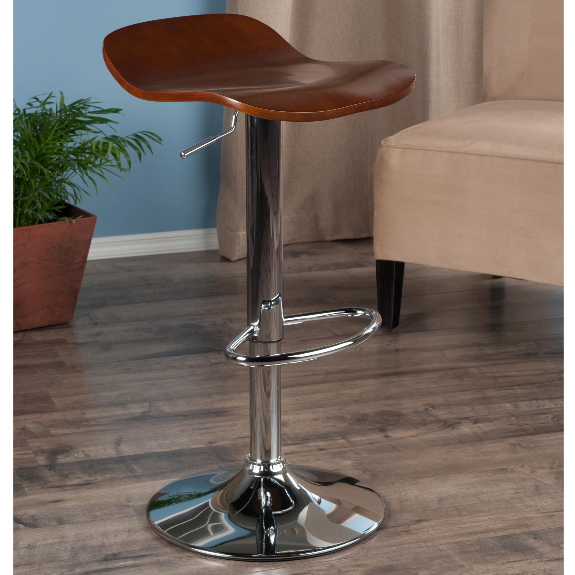 amazoncom winsome kallie air lift adjustable stools in wood  - kallie set of  air lift adjustable stool cappuccino wood veneer top andmetal