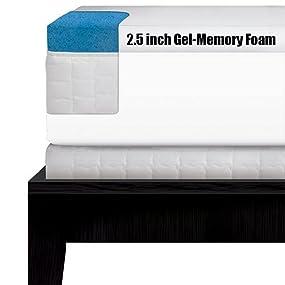 Amazon Com Serta 2 5 Inch Queen Gel Memory Foam Mattress