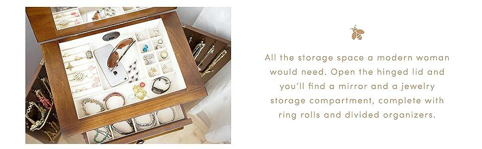 Amazon.com: Hives and Honey Ashton Jewelry Armoire ...