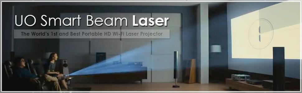 UO Smart Beam Laser, CES Awarded Portable Mini Projector, 1280x720HD, Focus  Free Class 1 Laser, Wireless 2 hrs, Built in Speaker, MIRRORING