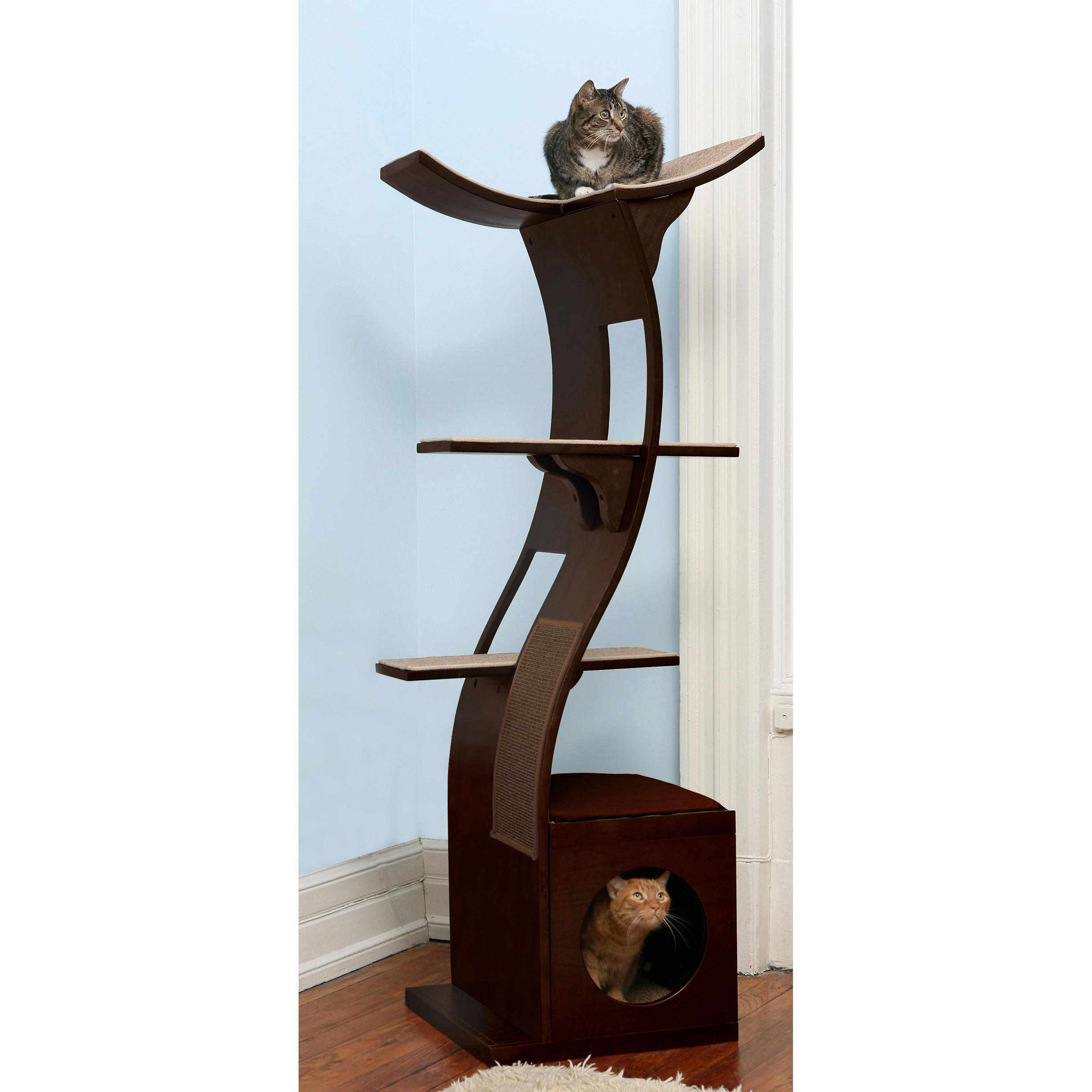 amazoncom  the refined feline lotus cat tower in espresso  cat  - cat tower cat furniture cat tree cat condo