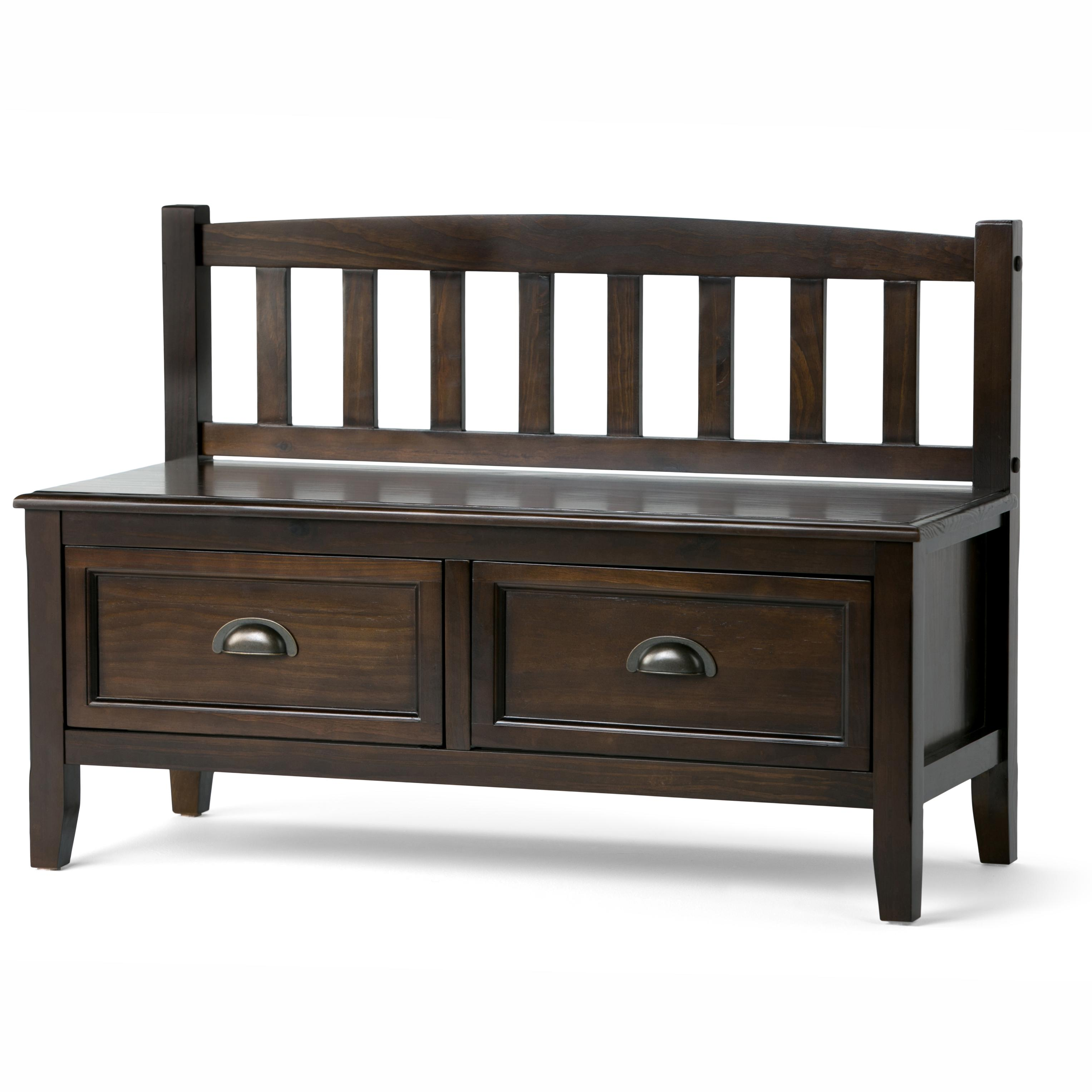 Simpli Home Burlington Entryway Storage Bench With Drawers Espresso Brown Kitchen