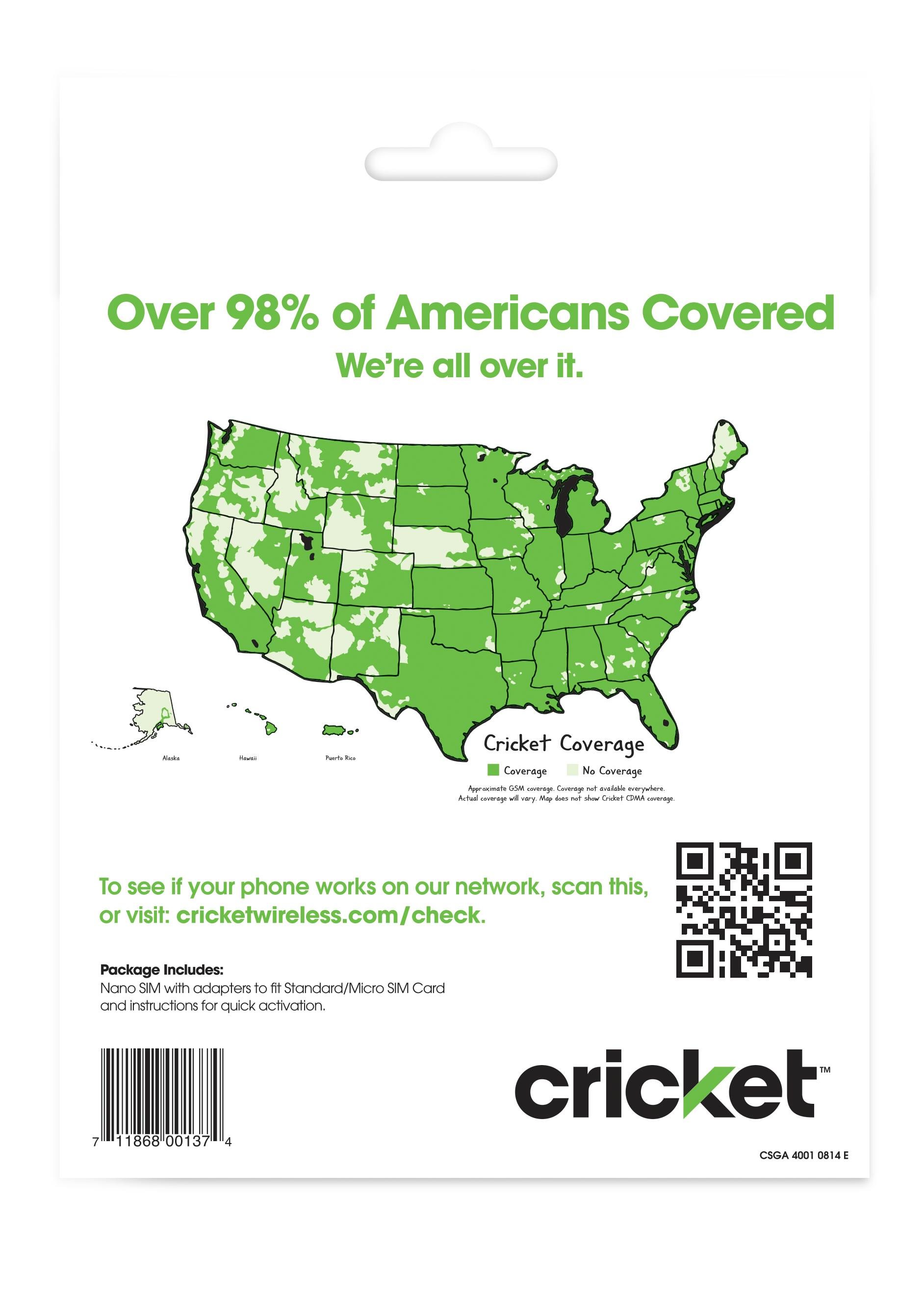 cricket wireless prepaid gsm sim card no contract