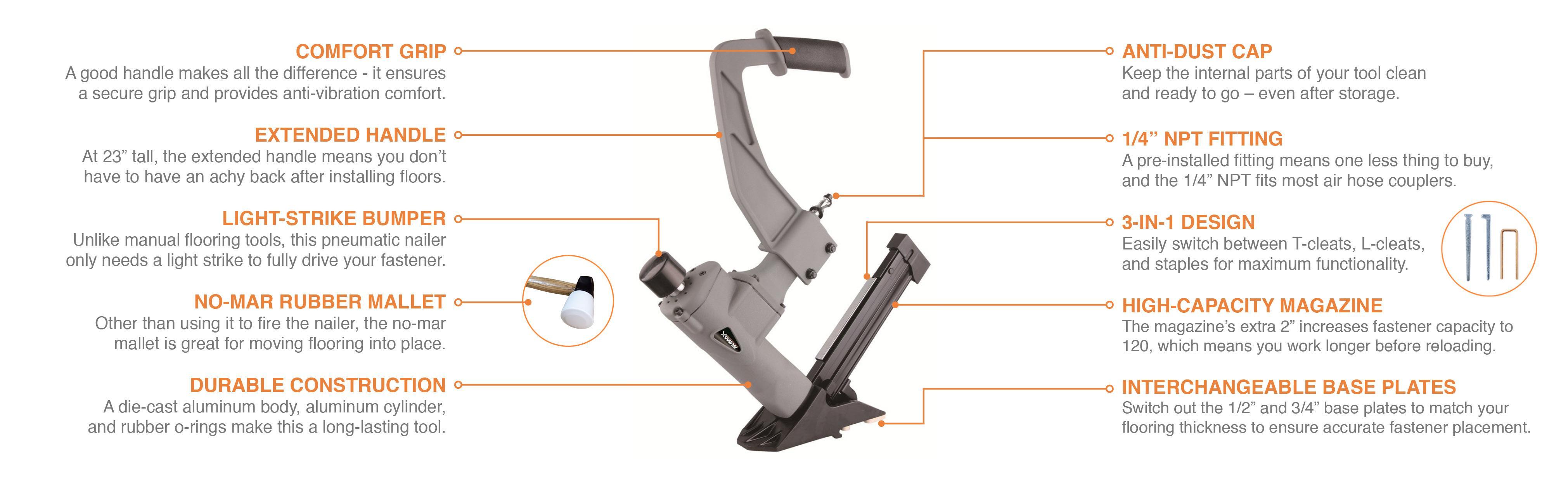 Numax Sfl618 3 In 1 Pneumatic Flooring Stapler Nailer Switch Light Fitting View Larger