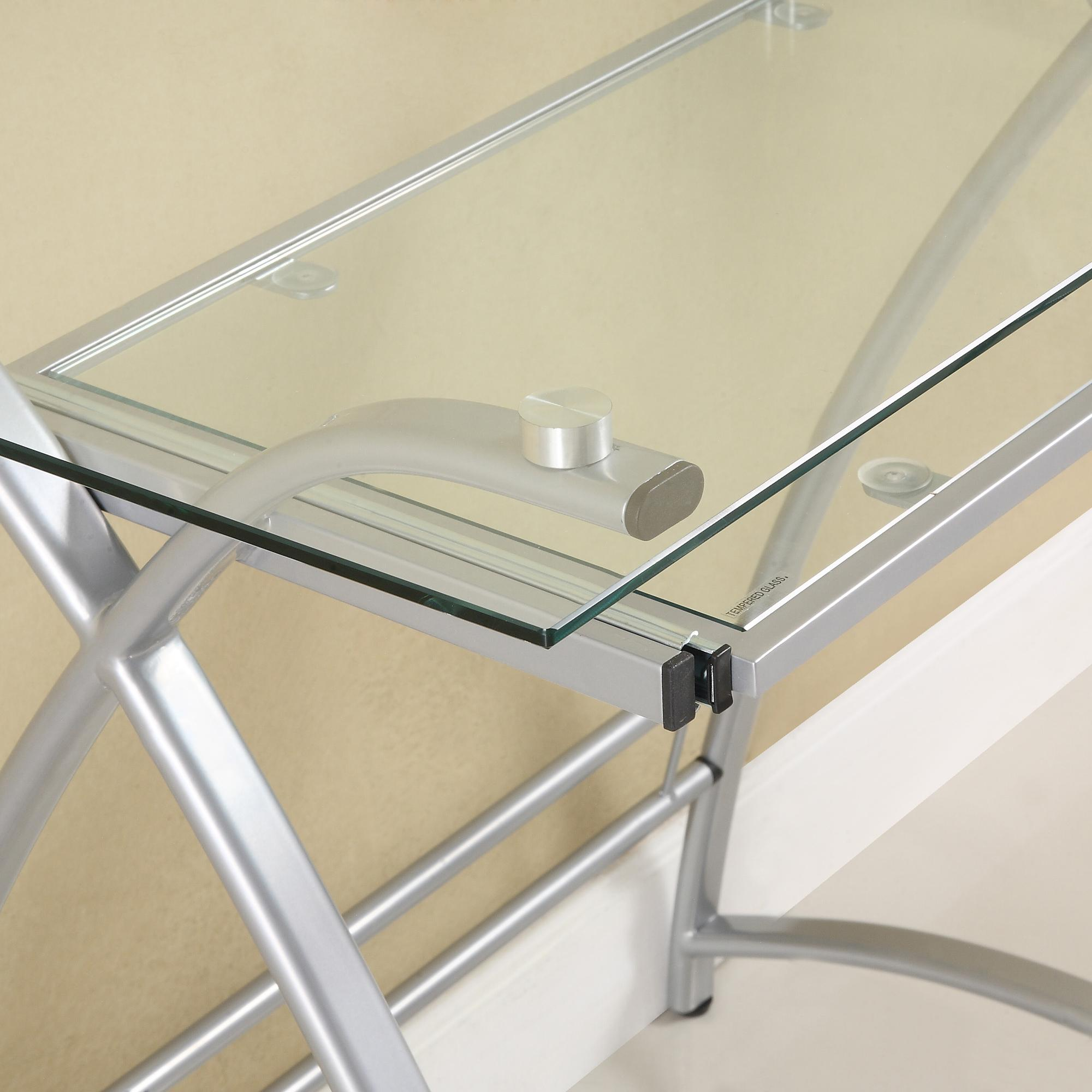 clear shaped all magnificent l glass desk