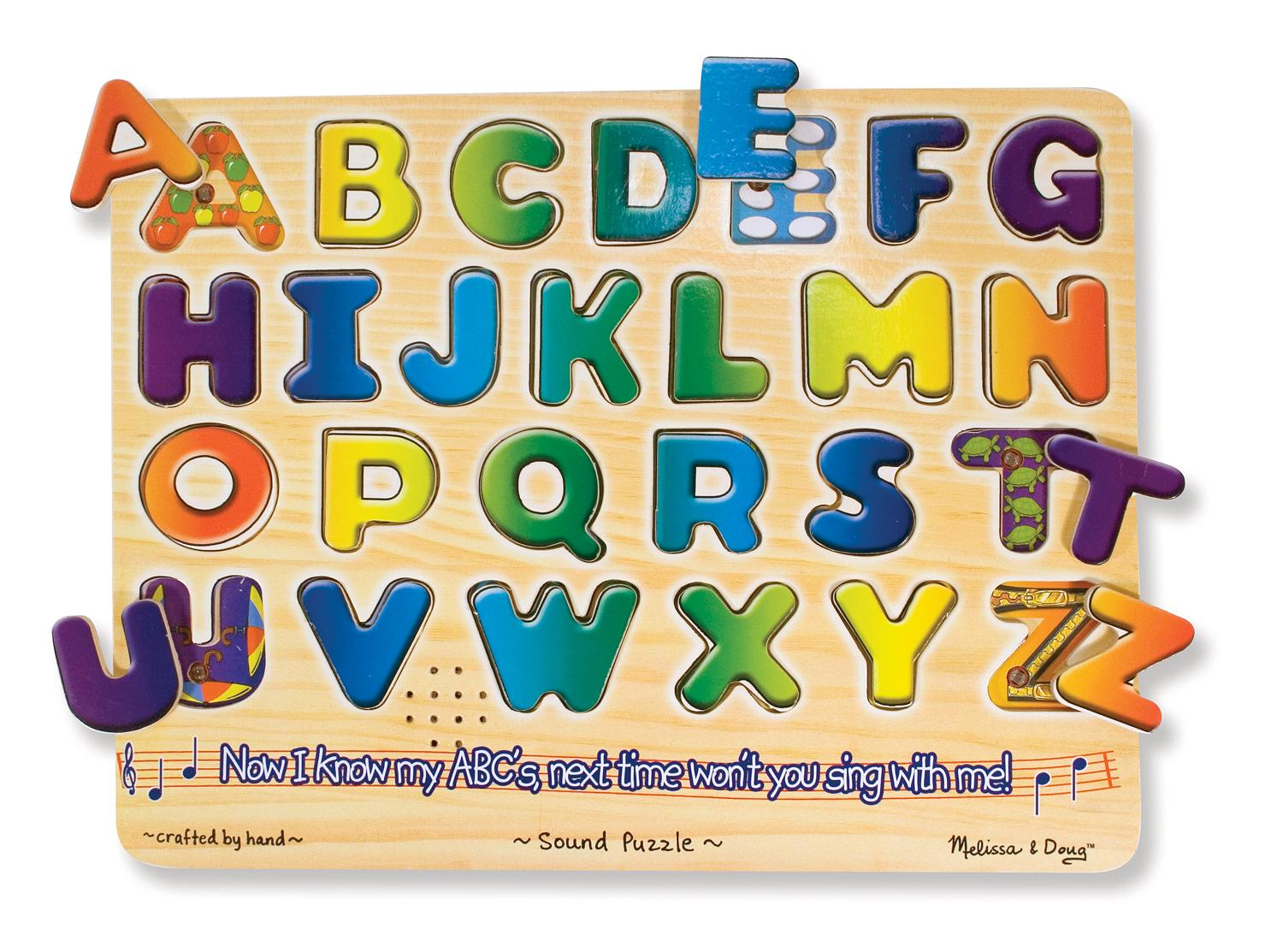 Amazon Com Melissa Amp Doug Alphabet Sound Puzzle Wooden