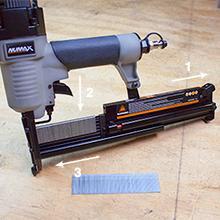 fastener, magazine, staple, brad nail, nailer, nail gun, numax