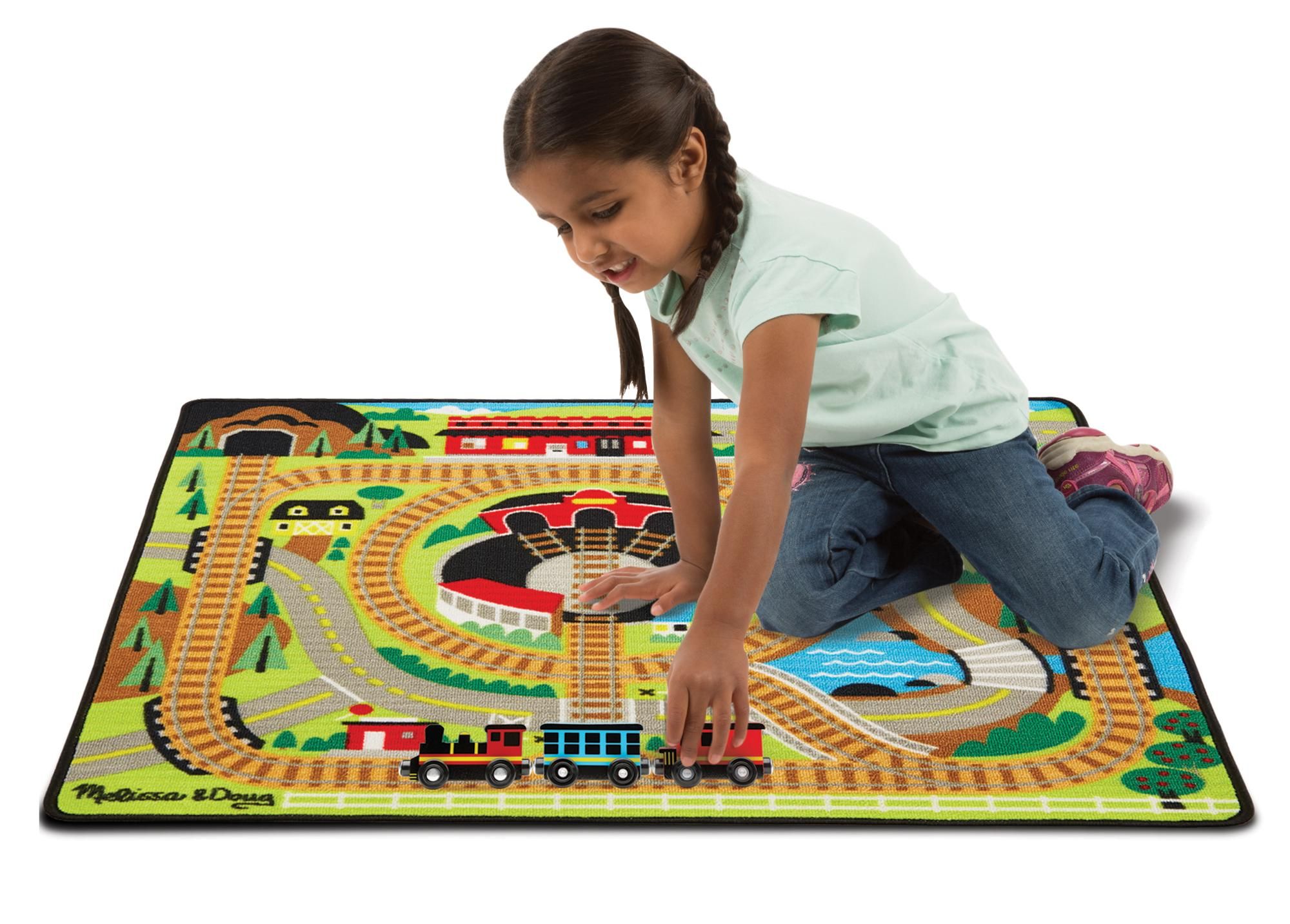 Amazon Com Melissa Amp Doug Round The Rails Train Rug With