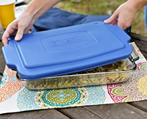anchor hocking; glass; bakeware; tote; easy transport; dishes; storage; store; mess free; dish cover