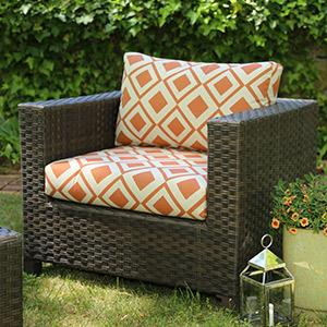 Patio Furniture, Outdoor Furniture, Sunbrella, Neutral Cushions, Orange,  Weatherproof Wicker,
