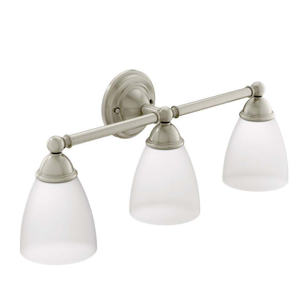 Moen YBBN Brantford Bath Lighting Brushed Nickel Bathroom - Bathroom vanity lights with shades