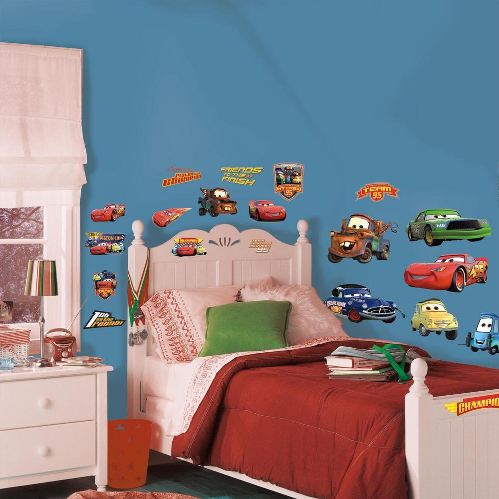 Roommates rmk1520scs disney pixar cars piston cup champs peel stick wall decal - Disney pixar cars wall mural ...