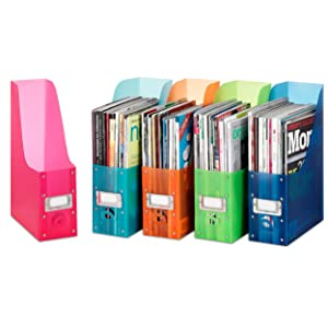 office organization, magazine file, magazine rack, magazine holder, book bins, school