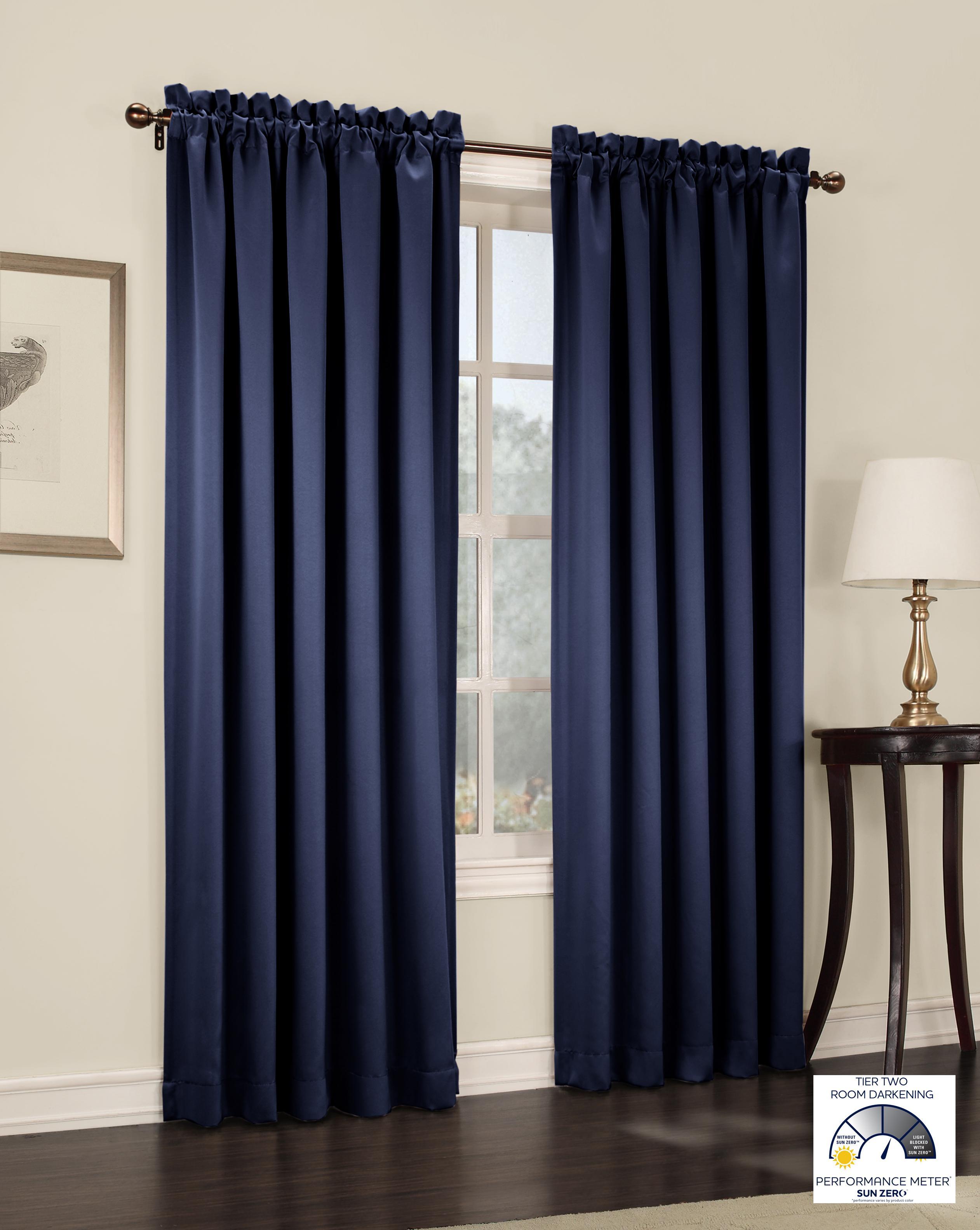 Sun zero barrow energy efficient rod pocket for Navy blue curtains ikea