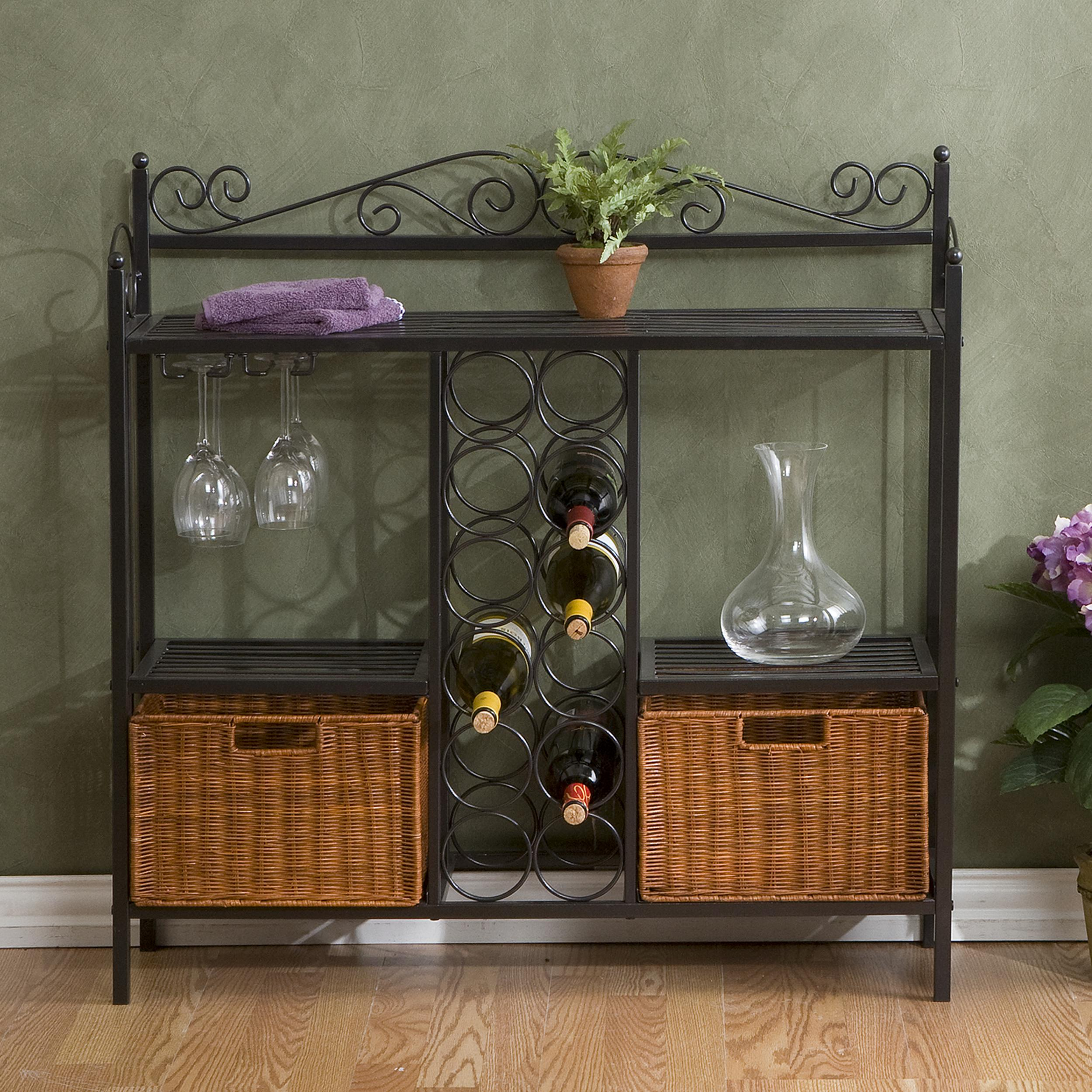 celtic bakers rack w wine storage gunmetal gray