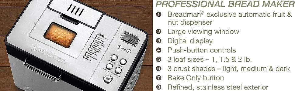 Amazon Com Breadman 2 Lb Professional Bread Maker