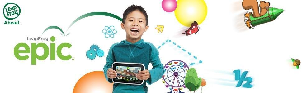 The picture of a young boy, very happily holding his LeapPad Epic 7 tablet.